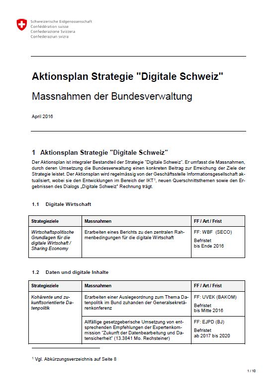 Aktionsplan digitale Schweiz
