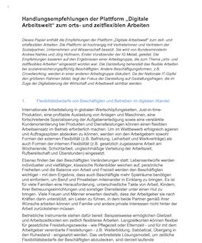"""Handlungsempfehlungen der Plattform """"Digitale Arbeitswelt"""" zum orts- und zeitflexiblen Arbeiten"""