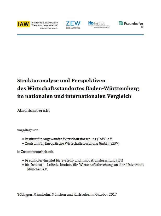 Strukturanalyse und Perspektiven  des Wirtschaftsstandortes Baden-Württemberg  im nationalen und internationalen Vergleich
