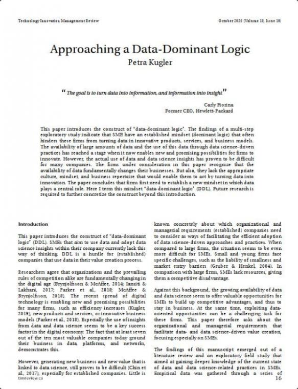 Approaching a Data Dominant Logic (Annäherung an eine daten-dominante Logik)
