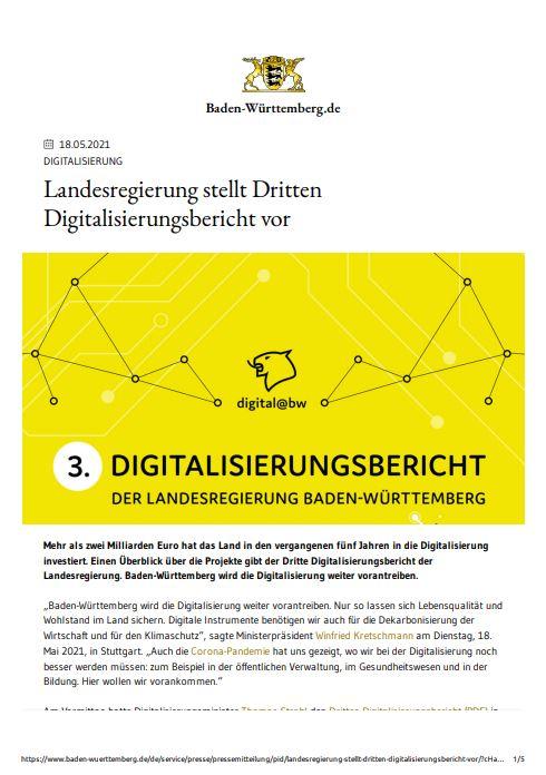 3. Digitalisierungsbericht der Landesregierung Baden-Württemberg